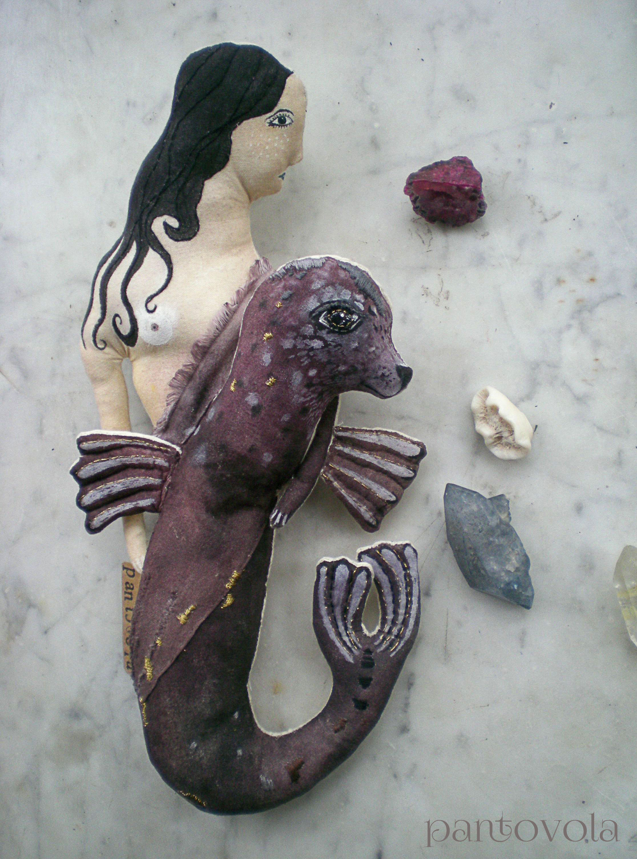 textile art doll selkie