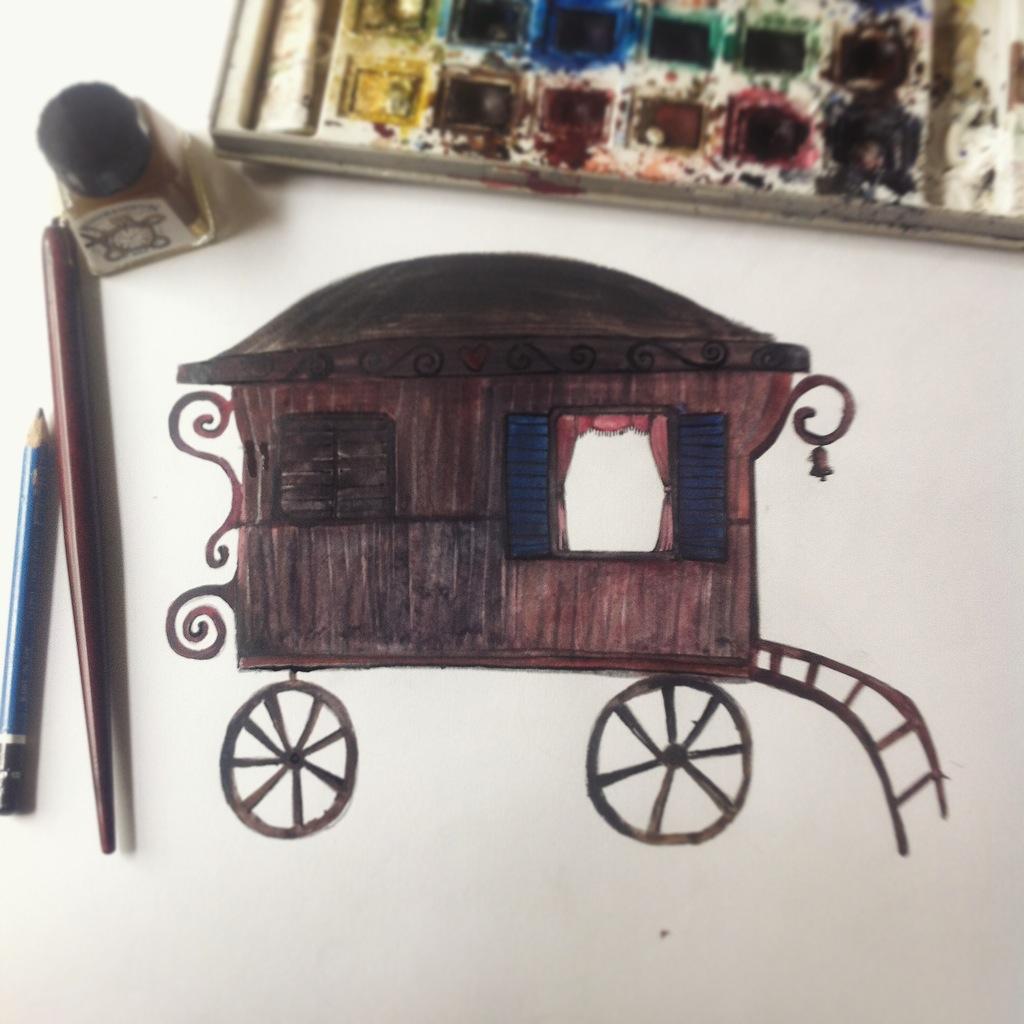 gyspy caravan illustration