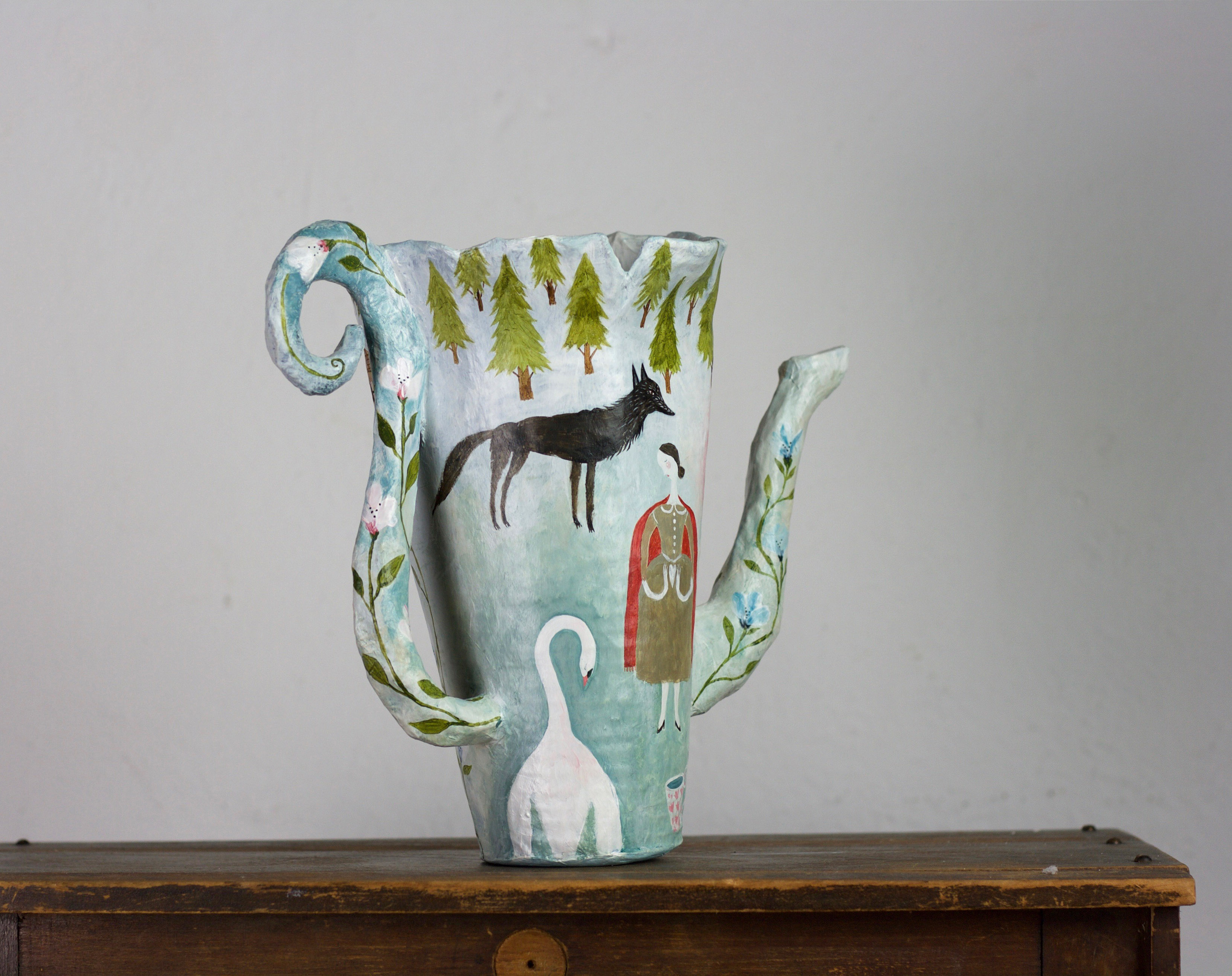 Paper mache Teapot vase